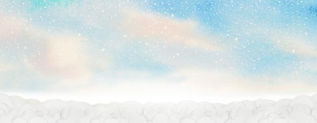 Fondo astratto del paesaggio della pittura dell'acquerello con il cielo