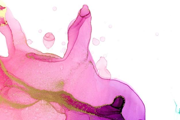Acquerello astratto sfondo sfumato rosa e viola con gocce di inchiostro oro