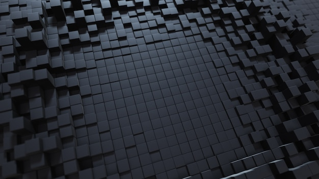 Priorità bassa astratta dell'onda con una superficie cubica commovente nera. concetto geometrico con caselle o colonne casuali. modello di disegno del movimento. illustrazione 3d composizione tecnologica. ondulazione radiale.