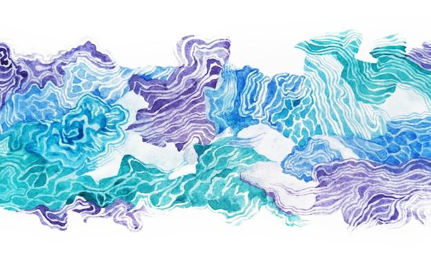 Paesaggio dell'oceano dell'acquerello delle onde astratte. ornamento del bordo del mare della natura. pennellate blu marino. illustrazione disegnata a mano di struttura bagnata della superficie dell'acqua della carta da parati.