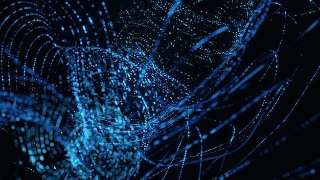 Sfondo di dati digitali di punti ondulati astratti