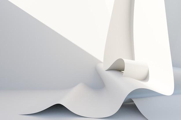 Fondo bianco astratto di architettura. rendering 3d. carta da parati geometrica moderna. design tecnologico futuristico