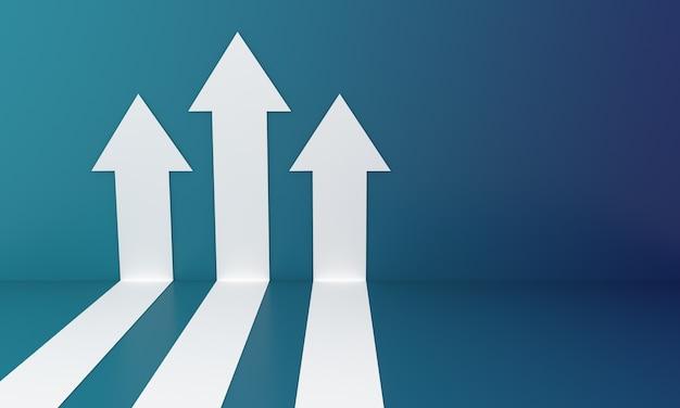 Frecce bianche astratte che si arrampicano sulla parete blu che rappresentano il grafico di crescita o l'investimento del grafico