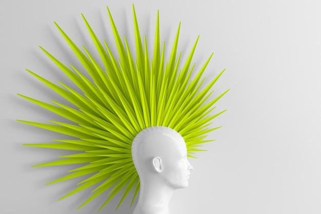 Fondo bianco astratto con il profilo femminile e l'acconciatura di moda ribelle stilizzata mohawk ha dipinto l'illustrazione 3d verde