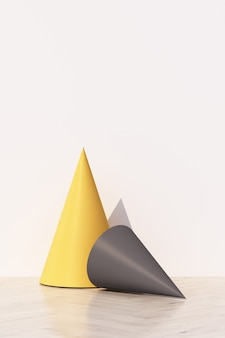 Fondo bianco astratto con podio di forma geometrica per prodotto con ombra sul muro. concetto minimo giallo e grigio. rendering 3d