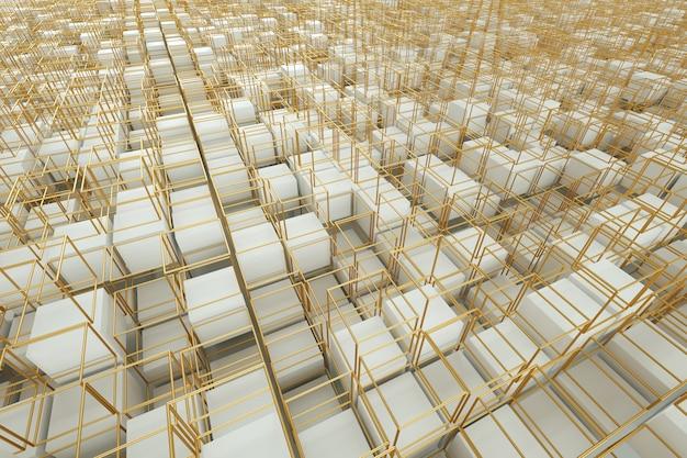 Parete astratta in oro bianco, moderna grafica. rendering 3d, illustrazione 3d. copia spazio.