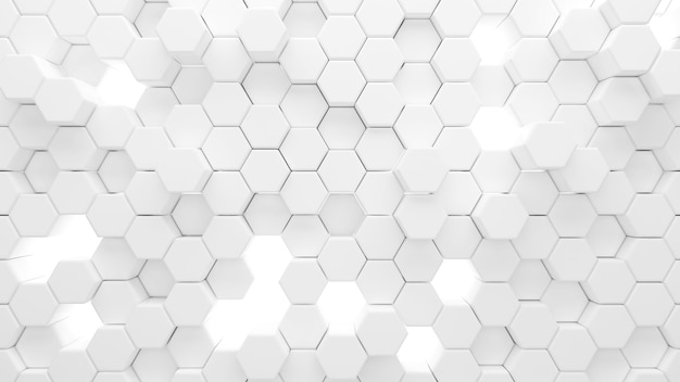 L'esagono bianco astratto modella lo sfondo, la forma esagonale sollevata in alto e in basso, rendering 3d