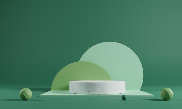Modello astratto podio in marmo bianco su sfondo verde