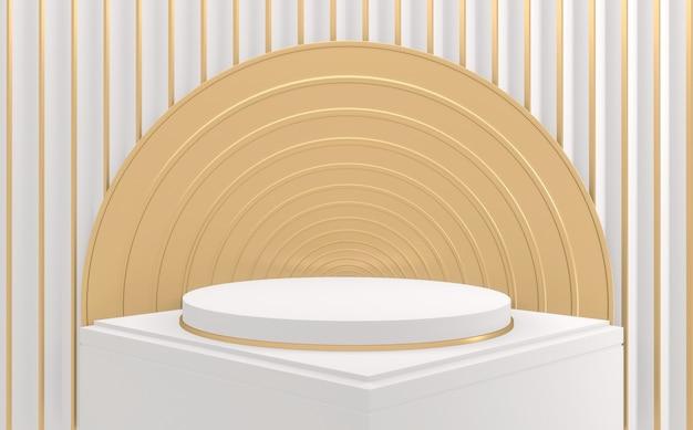 Il fondo bianco geometrico e dorato minimo del podio bianco astratto. rendering 3d