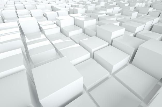Parete bianca astratta fatta dei cubi, progettazione grafica moderna. rendering 3d, illustrazione 3d. copia spazio.