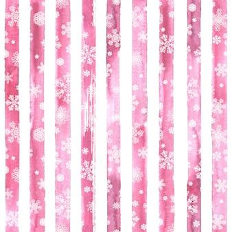 Modello senza cuciture astratto di moda invernale con fiocchi di neve bianchi su sfondo a strisce rosa e bianco dell'acquerello. concetto felice anno nuovo e buon natale.