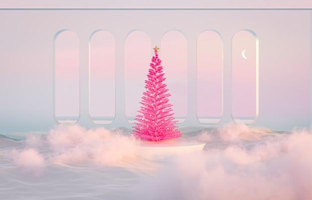 Fondo astratto di scena del paesaggio di inverno con l'albero di natale rosa