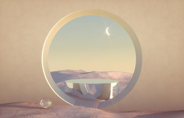 Scena invernale astratta con forme geometriche, arco con podio in luce naturale.