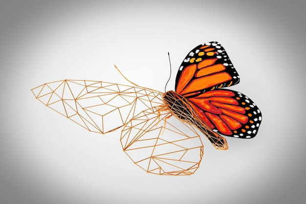 Abstract wired low poly butterfly su uno sfondo grigio. rendering 3d