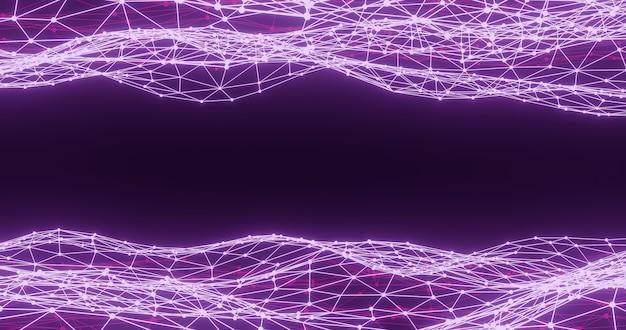 Wireframe astratto sfondo viola, rendering 3d