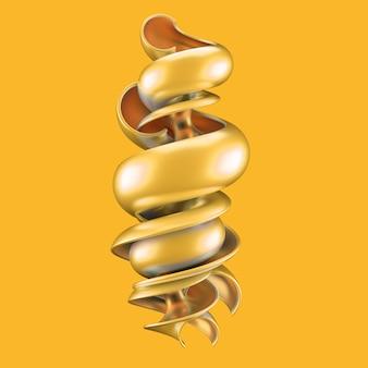 Astratto con forma gialla e oro. illustrazione 3d,