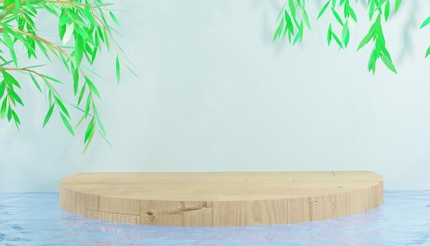 Podio astratto dell'esposizione di legno sull'acqua per la rappresentazione dei prodotti 3d dello spettacolo foto premium