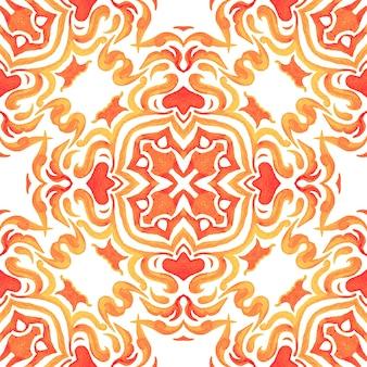 Mano gialla astratta disegnata piastrella senza cuciture ornamentali pittura ad acquerello pattern. Foto Premium