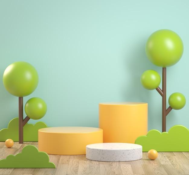 Il podio giallo astratto ha messo su legno con un rendering 3d di sfondo di albero e menta