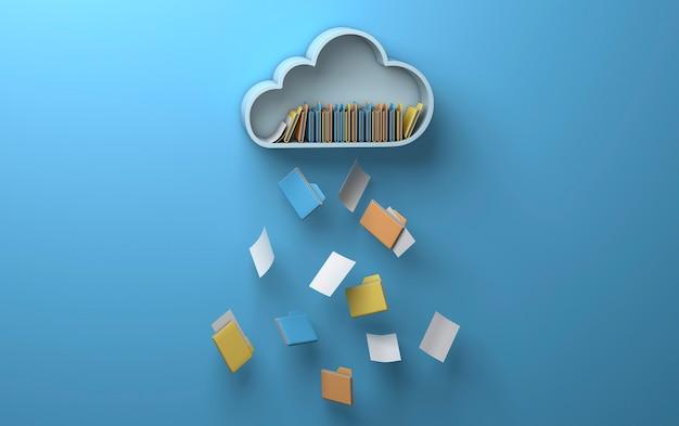 Accesso al cloud storage. il cloud da cui vengono rilasciati file e cartelle. sfondo blu. rendering 3d.