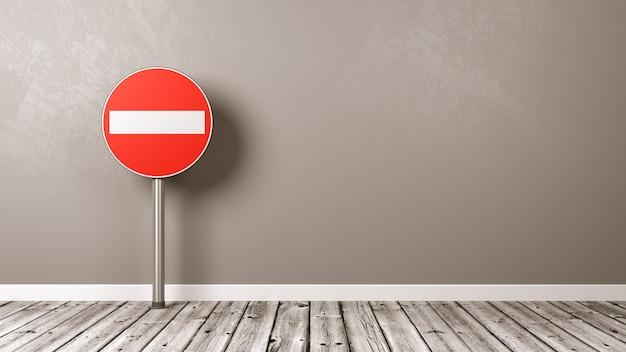 Accesso negato cartello stradale sul pavimento di legno