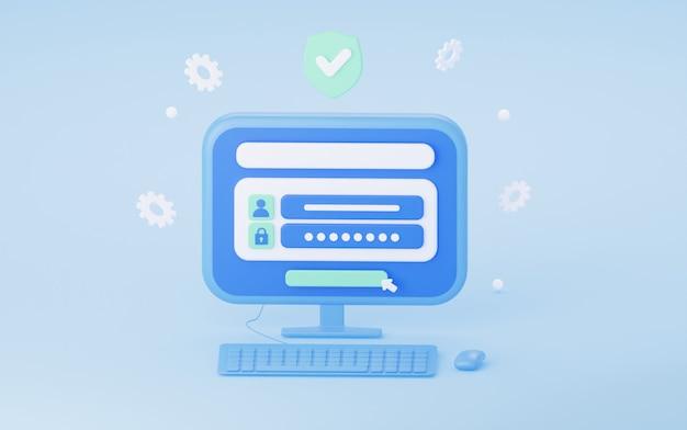 Accesso all'account con password il concetto di protezione della sicurezza in internet