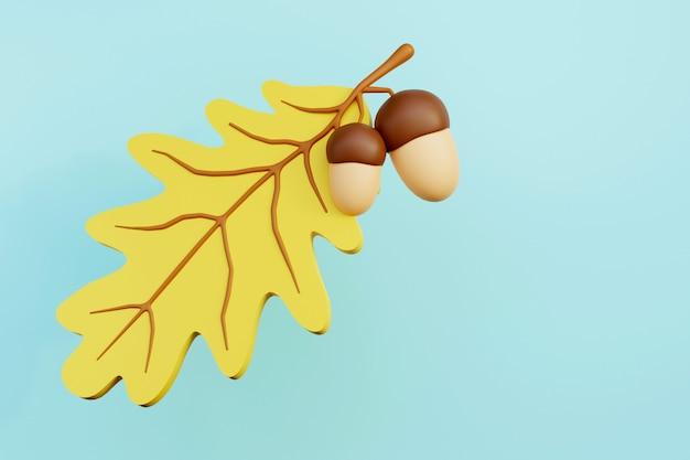 Ghiande su un ramo e foglia di quercia 3d render