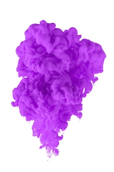 L'inchiostro acrilico in acqua forma un motivo astratto di fumo isolato su sfondo bianco