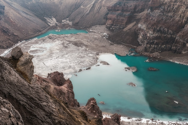 Cratere vulcanico attivo, vulcano mutnovsky, kamchatka