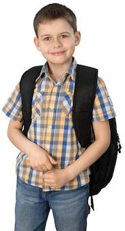 Adorabile ragazzino con zaino sullo sfondo. concetto di scuola. di nuovo a scuola