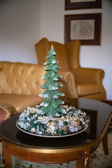 Corona dell'avvento con candele, mini decorazione da tavola fatta a mano per il nuovo anno, decorazione d'interni albero di natale artificiale