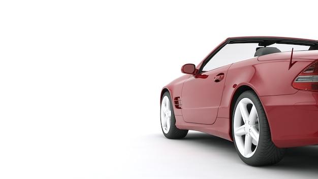Pubblicizza l'auto rossa isolata sulla superficie bianca