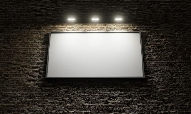 Tabellone pubblicitario in bianco su muro in mattoni con faretti che lo illuminano