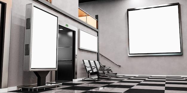 Cartelloni pubblicitari. interno della stazione o dell'aeroporto con cartelloni pubblicitari vuoti. illustrazione 3d