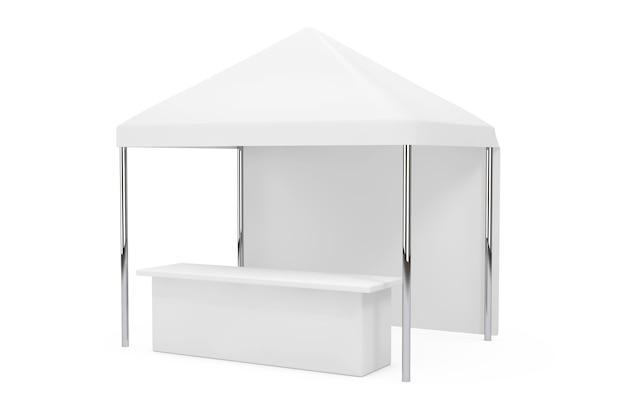 Pubblicità promozionale all'aperto tenda a baldacchino mobile su sfondo bianco. rendering 3d