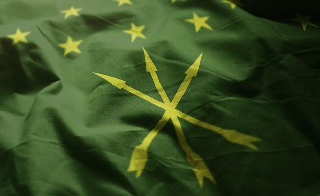 Adygea flag rumpled close up