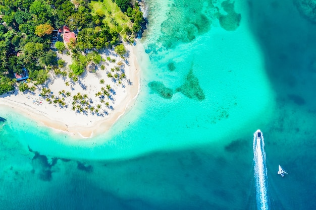 Vista aerea del drone della bellissima spiaggia tropicale caraibica di cayo levantado con palme e barche. isola bacardi, repubblica dominicana. sfondo di vacanza.