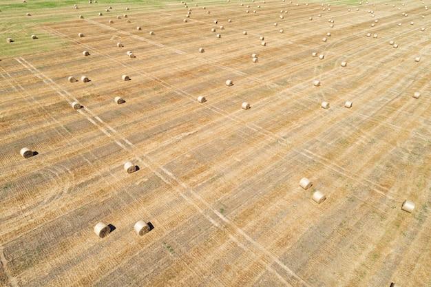 Vista aerea drone del campo falciato con rotoli di balle di fieno sparse in prospettiva