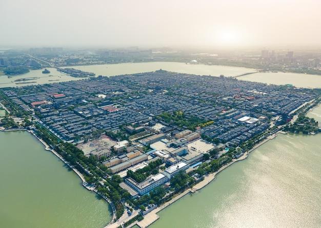 Panorama aereo dell'antica città di dongchang a liaocheng, provincia di shandong