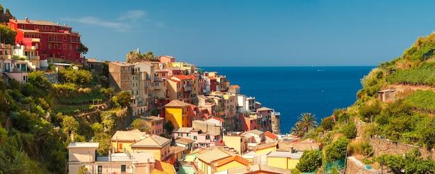 Vista panoramica aerea del villaggio di pescatori di manarola in cinque terre, parco nazionale delle cinque terre, liguria, italia. Foto Premium