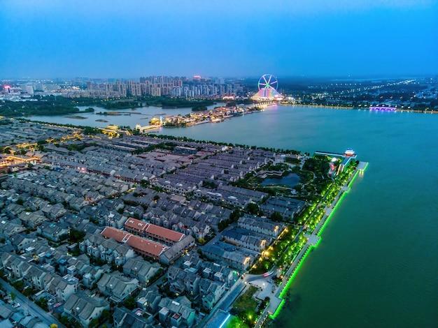 Fotografia aerea dell'antica città di dongchang a liaocheng, provincia di shandongdong