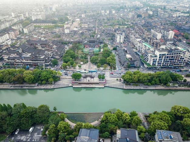 Fotografia aerea di antichi edifici nel centro di xuzhou, jiangsu