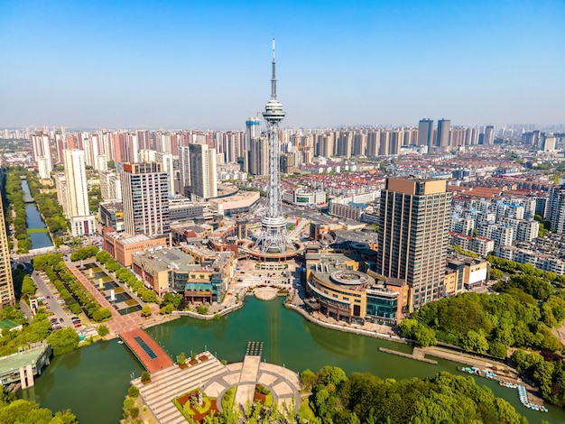 Fotografia aerea del parco changzhou xintiandi