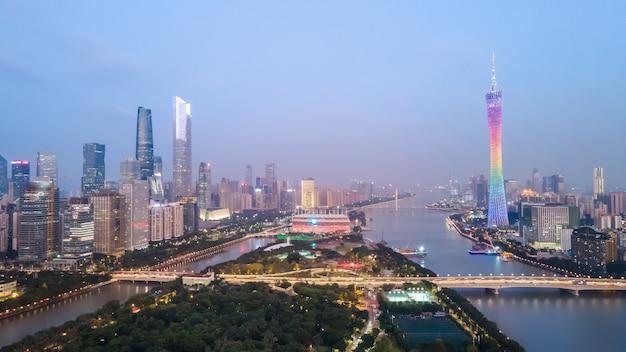 Fotografia aerea cina guangzhou città moderna architettura paesaggio skyline