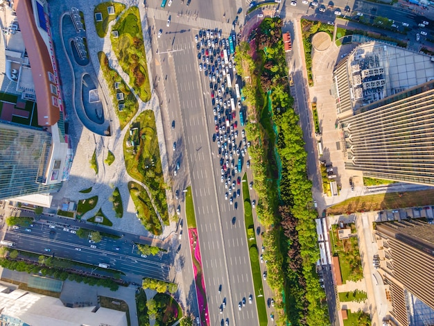 Fotografia aerea di strade cittadine