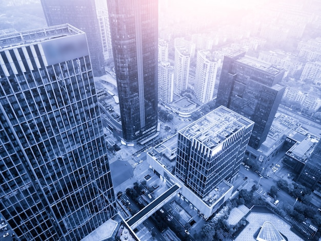 Fotografia aerea del paesaggio architettonico urbano moderno di suzhou