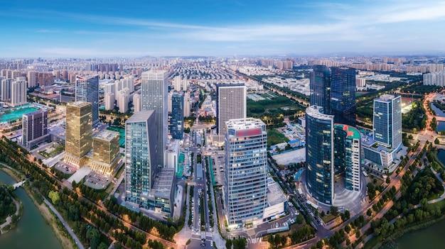 Fotografia aerea del paesaggio architettonico urbano moderno a zibo, cina