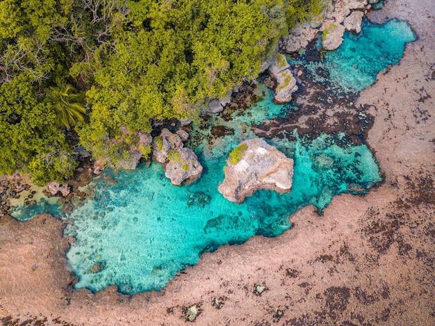 Ripresa aerea di un'anima deserta con una linea di foresta e una piccola laguna e grandi rocce al suo interno