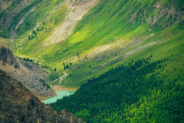 Vista aerea spettacolare alla pittoresca valle con bellissimo lago di montagna, foresta di conifere e montagne rocciose
