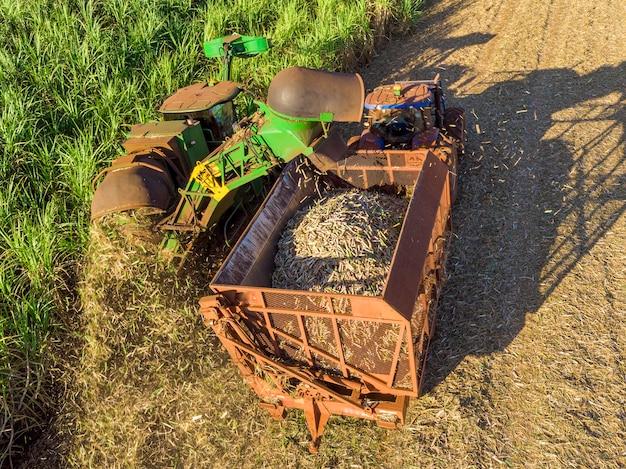 Campo di canna da zucchero aerea in brasile. trattore funzionante, agroalimentare.
